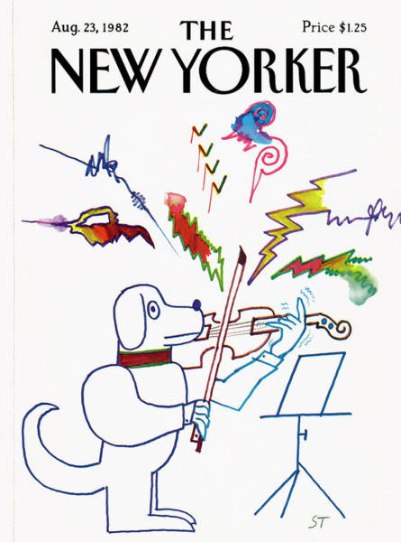 Music Painting - New Yorker August 23rd, 1982 by Saul Steinberg