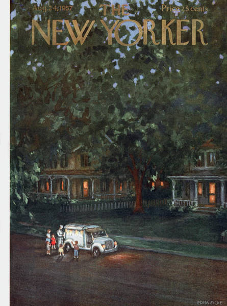 Suburban Painting - New Yorker August 24th, 1957 by Edna Eicke