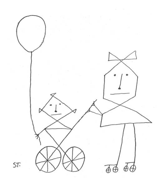 Angle Drawing - New Yorker August 24th, 1957 by Saul Steinberg