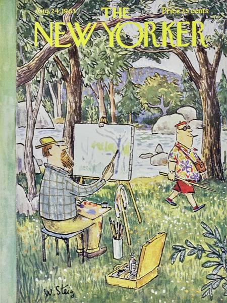 Lake Painting - New Yorker August 24th 1963 by William Steig