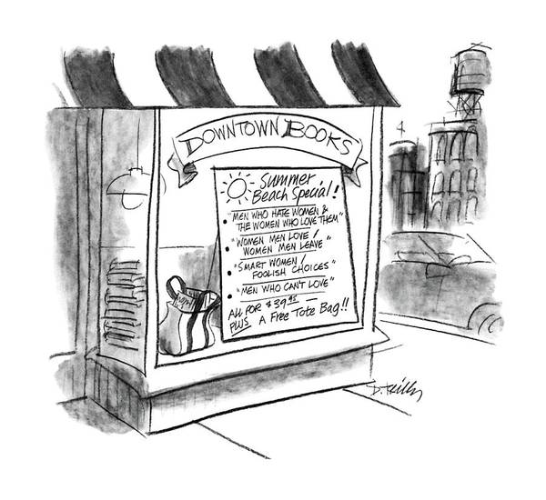 Window Drawing - New Yorker August 24th, 1987 by Donald Reilly