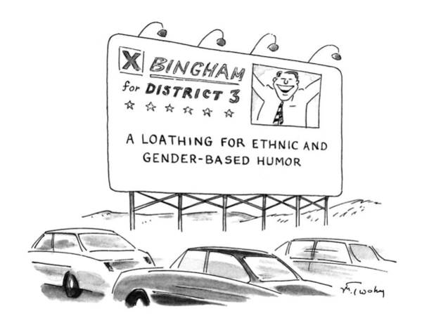 Billboard Drawing - New Yorker August 24th, 1992 by Mike Twohy