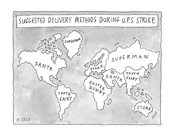 Service Drawing - New Yorker August 25th, 1997 by Roz Chast