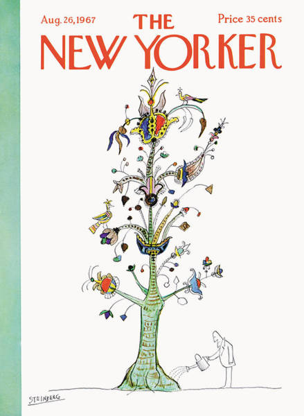 Plant Painting - New Yorker August 26th, 1967 by Saul Steinberg