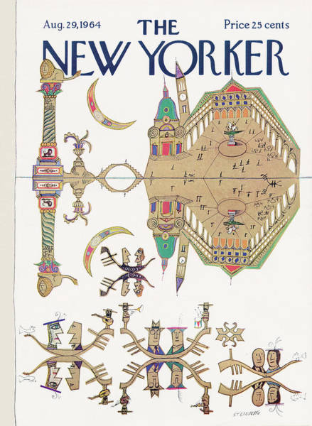 Night Painting - New Yorker August 29th, 1964 by Saul Steinberg