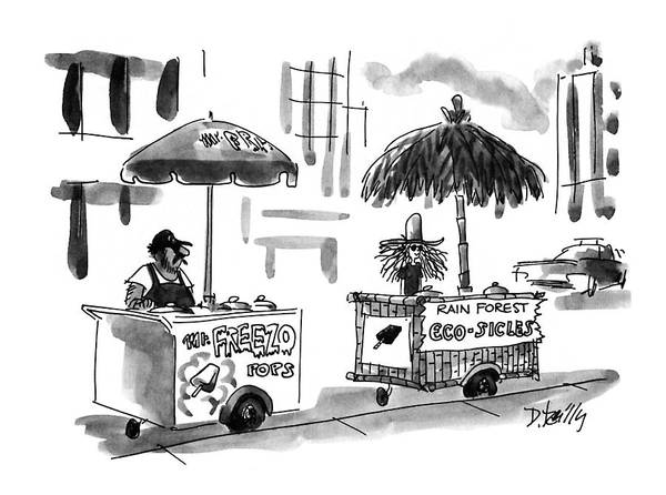 Cart Drawing - New Yorker August 2nd, 1993 by Donald Reilly