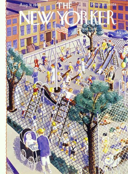 City Scene Painting - New Yorker August 31 1940 by Ilonka Karasz