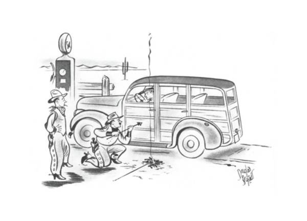 Gas Station Drawing - New Yorker August 31st, 1940 by Douglas Borgstedt
