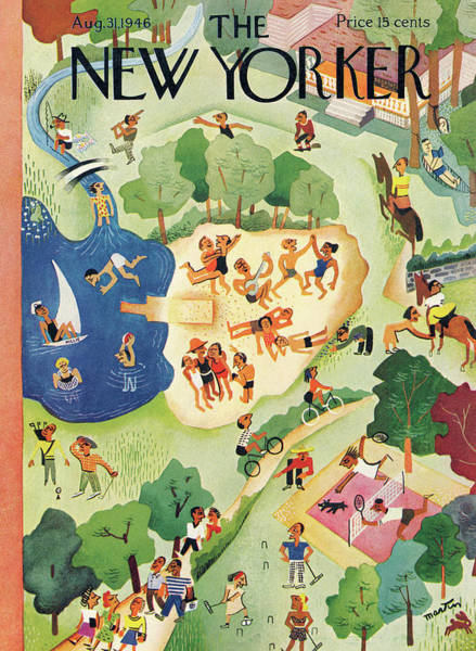Summer Vacation Painting - New Yorker August 31, 1946 by Charles E Martin