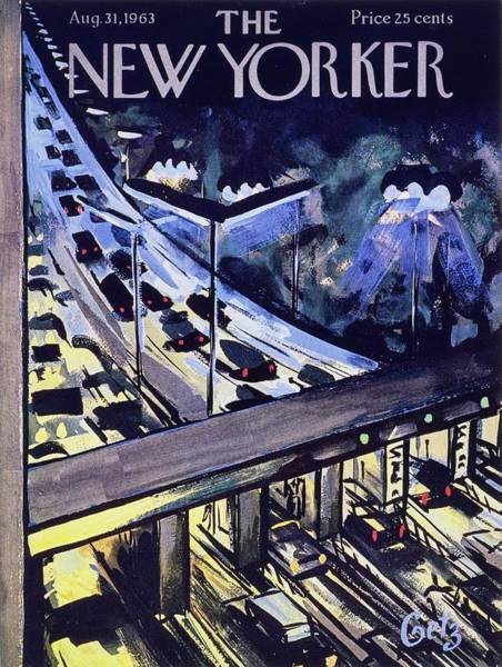 At Night Painting - New Yorker August 31st 1963 by Arthur Getz