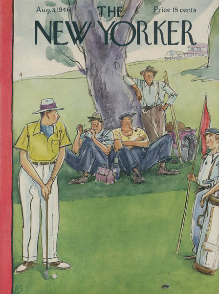 Green Painting - New Yorker August 3rd, 1946 by Perry Barlow