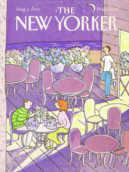Table Painting - New Yorker August 3rd, 1992 by Devera Ehrenberg