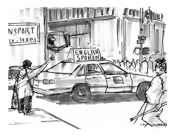 Taxi Drawing - New Yorker August 3rd, 1998 by Michael Crawford