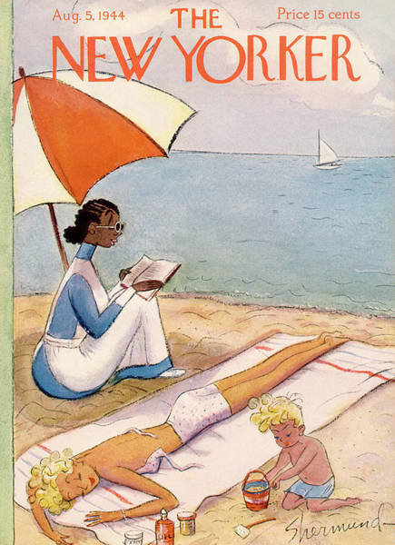 Reading Painting - New Yorker August 5th, 1944 by Barbara Shermund