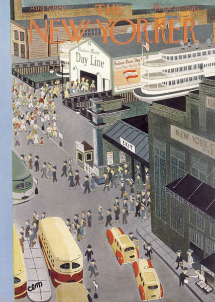 Queens Painting - New Yorker August 5th, 1950 by Charles E. Martin