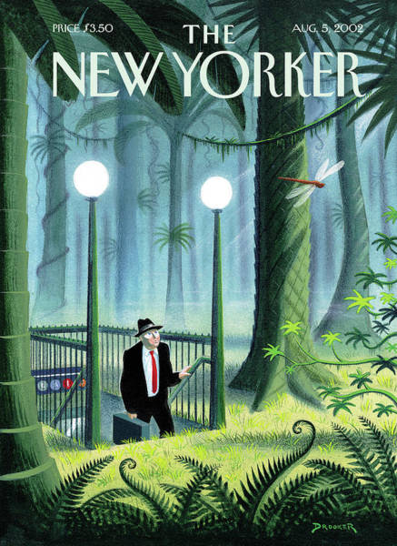 Green Painting - New Yorker August 5th, 2002 by Eric Drooker