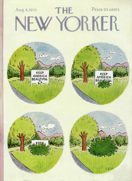 Suburban Painting - New Yorker August 8th, 1970 by Charles E Martin
