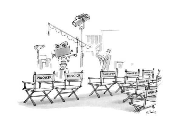 Chair Drawing - New Yorker August 8th, 1983 by Dana Fradon