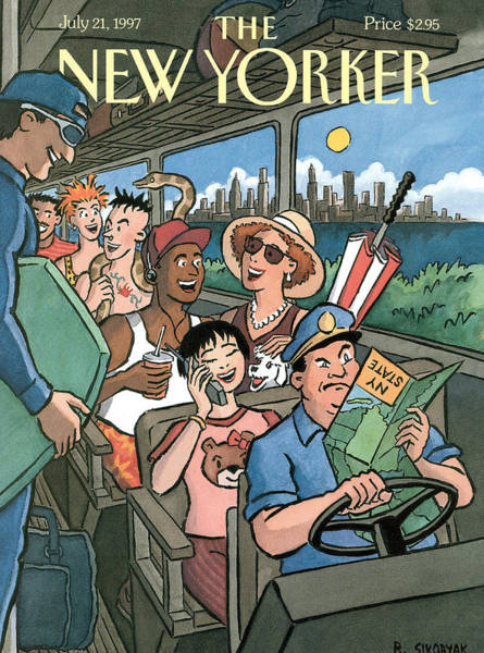 Upstate New York Painting - New Yorker Characters Board A City Bus by R Sikoryak