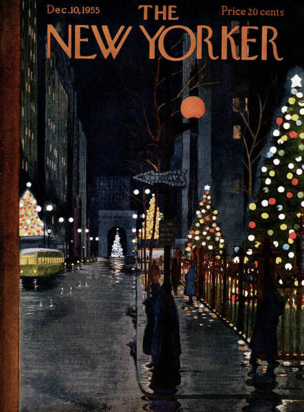 Snowing Painting - New Yorker December 10th, 1955 by Alain