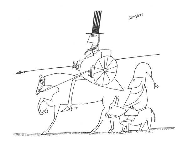Horseback Riding Drawing - New Yorker December 12th, 1959 by Saul Steinberg