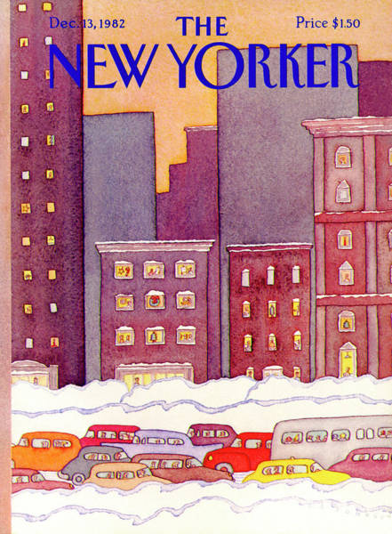 Snowing Painting - New Yorker December 13th, 1982 by Lonni Sue Johnson