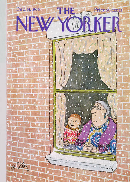 Snowing Painting - New Yorker December 14th, 1968 by William Steig