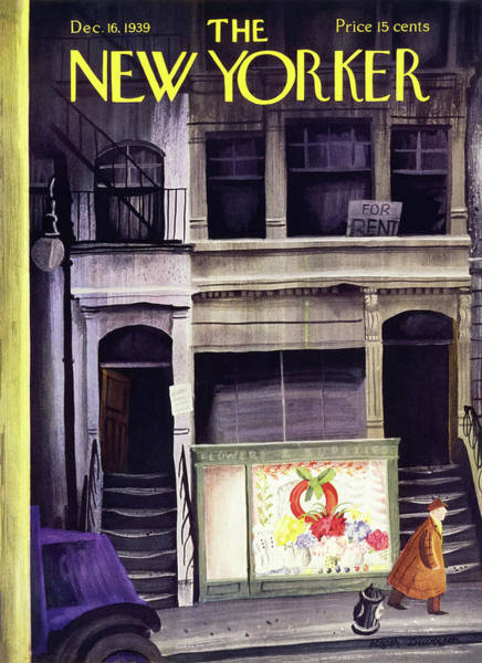 City At Night Painting - New Yorker December 16 1939 by Roger Duvoisin
