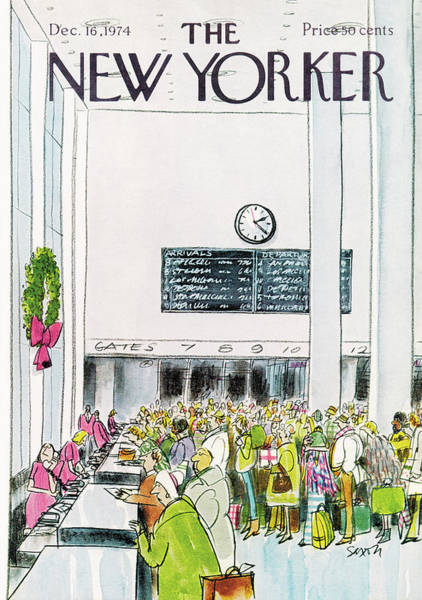 Crowd Painting - New Yorker December 16th, 1974 by Charles Saxon