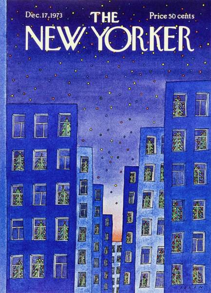 Wall Art - Painting - New Yorker December 17th 1973 by Jean-Michel Folon