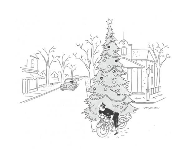 Christmas Tree Drawing - New Yorker December 19th, 1942 by M. K. Barlow