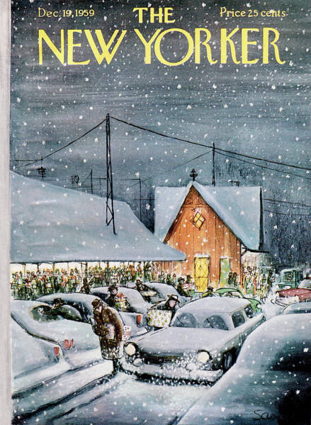 Trains Painting - New Yorker December 19th, 1959 by Charles Saxon