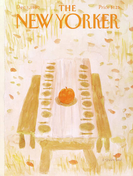 Table Painting - New Yorker December 1st, 1980 by James Stevenson