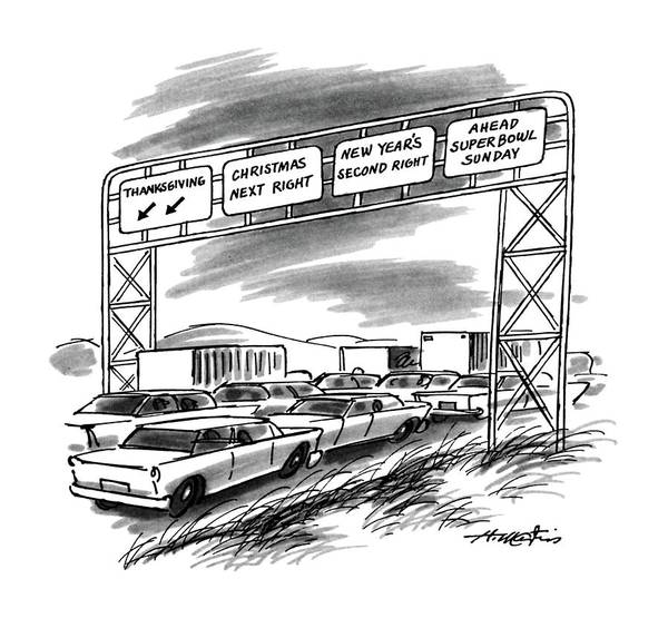 Highway 12 Wall Art - Drawing - New Yorker December 1st, 1986 by Henry Martin