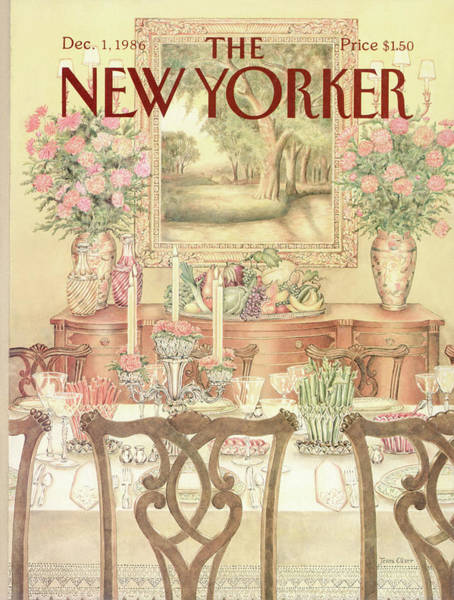 Table Painting - New Yorker December 1st, 1986 by Jenni Oliver