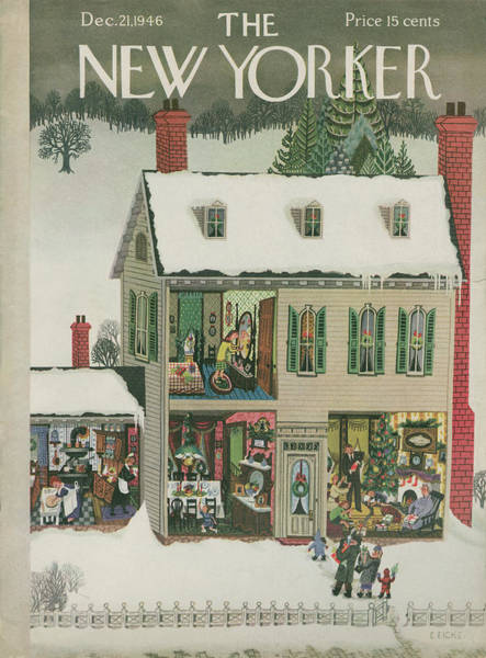 Snowing Painting - New Yorker December 21st, 1946 by Edna Eicke