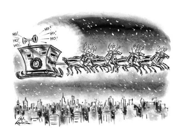 Sleigh Drawing - New Yorker December 21st, 1992 by Ed Fisher