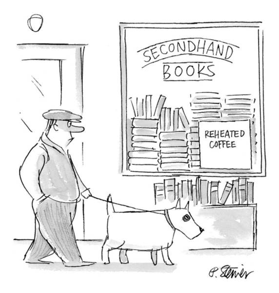 Bookstore Drawing - New Yorker December 22nd, 1997 by Peter Steiner
