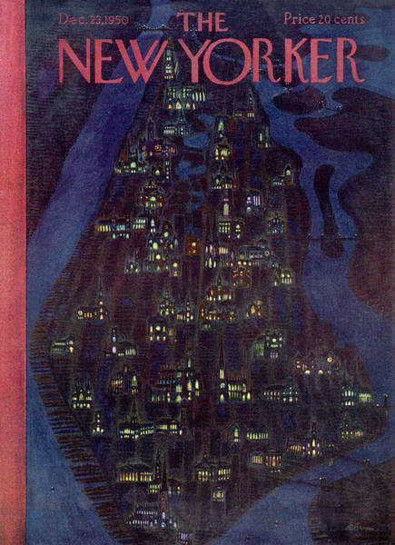 Skyline Painting - New Yorker December 23, 1950 by Alain