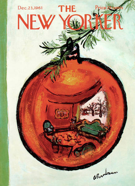 Xmas Tree Painting - New Yorker December 23rd, 1961 by Abe Birnbaum