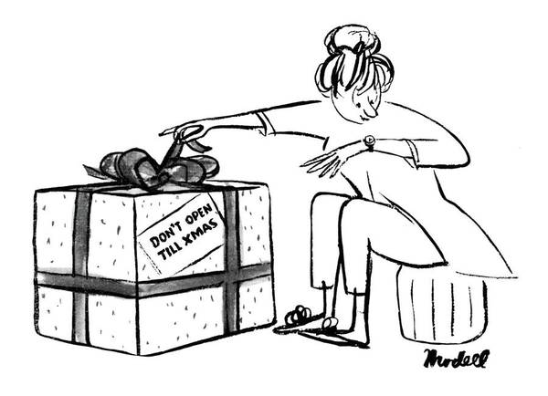 Xmas Drawing - New Yorker December 23rd, 1961 by Frank Modell