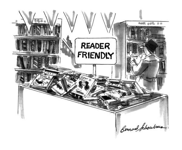 Bookstore Drawing - New Yorker December 23rd, 1996 by Bernard Schoenbaum