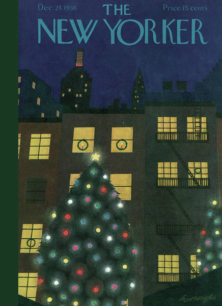 Night Painting - New Yorker December 24th, 1938 by Adolph K Kronengold