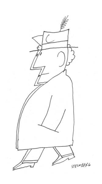 Side Drawing - New Yorker December 24th, 1955 by Saul Steinberg