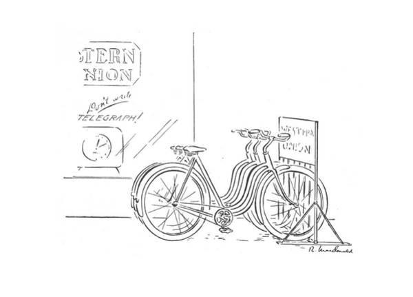 Bike Drawing - New Yorker December 26th, 1942 by Roberta Macdonald