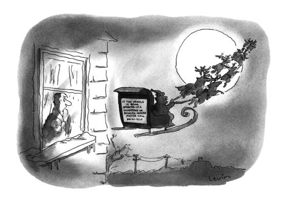 Sleigh Drawing - New Yorker December 26th, 1994 by Arnie Levin
