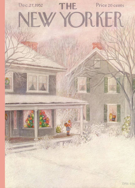 Snowing Painting - New Yorker December 27th, 1952 by Edna Eicke