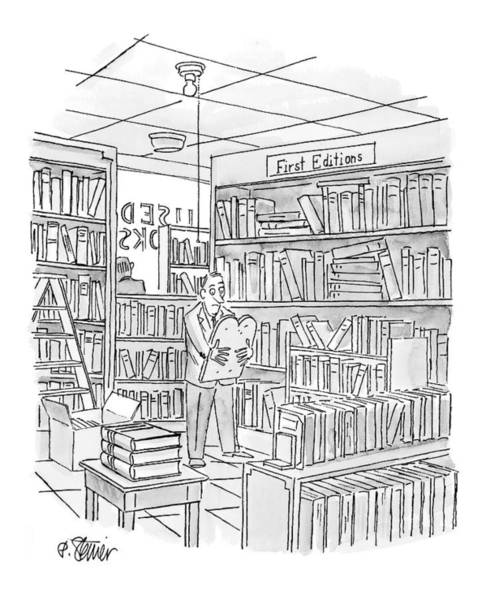 Bookstore Drawing - New Yorker December 27th, 1999 by Peter Steiner