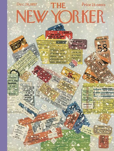 Xmas Painting - New Yorker December 28th, 1957 by Ilonka Karasz