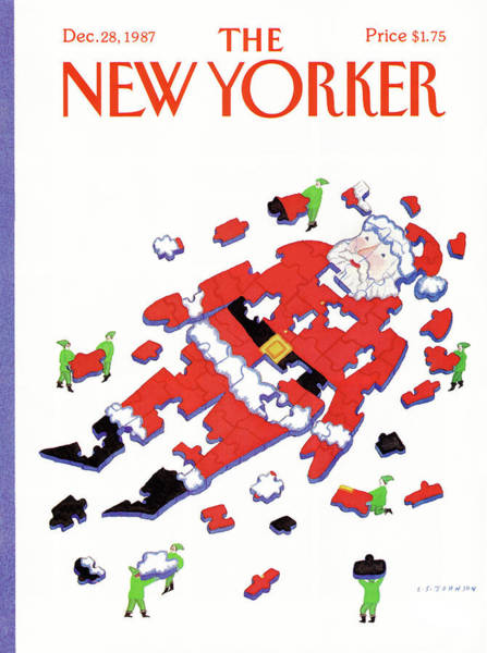 Xmas Painting - New Yorker December 28th, 1987 by Lonni Sue Johnson